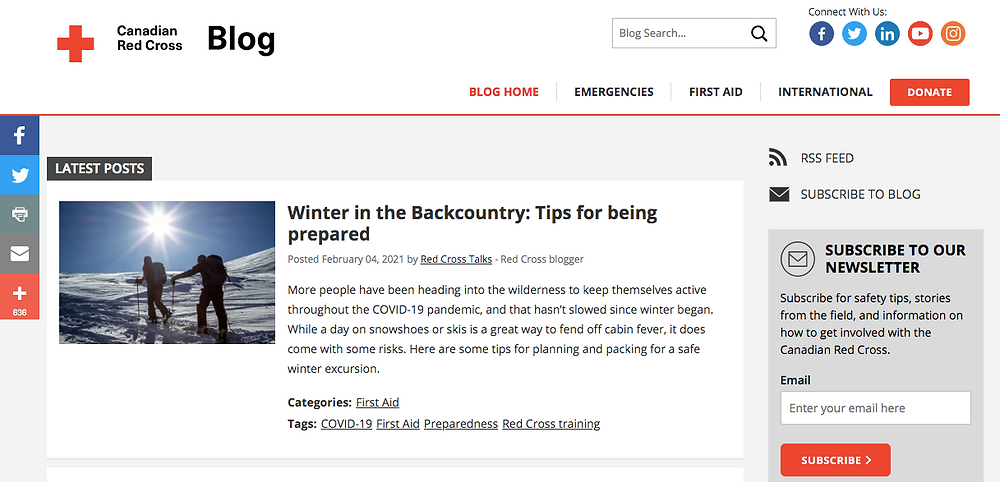 Screenshot of Canadian Red cross non-profit blog