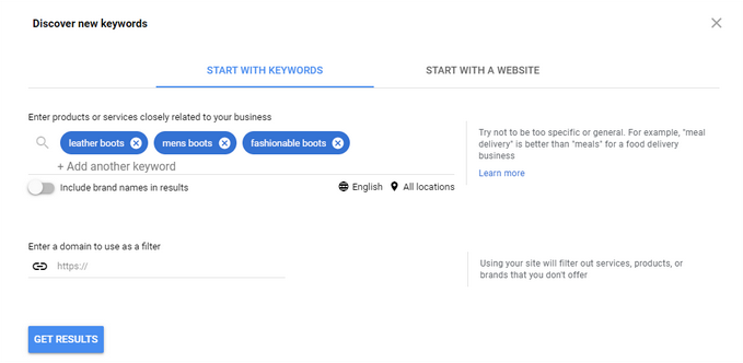 Google keyword planner keyword research tool
