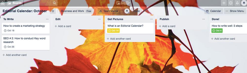 Blog workflow in Trello screenshot