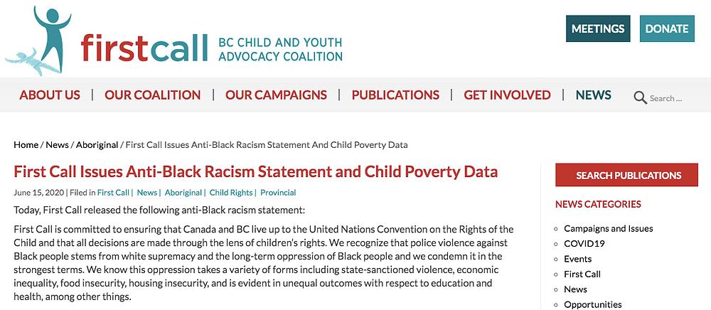 Screenshot of Non-profit using blog to share news