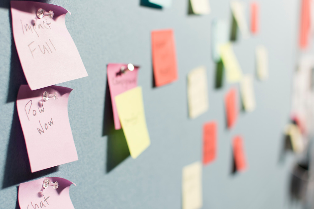Post-it note keyword brainstorm SEO plan