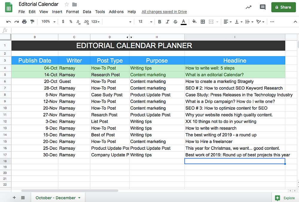Editorial Calendar Crisp Text Google docs
