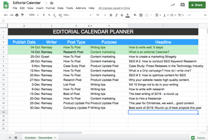 Editorial Calendar Crisp Text Google docs