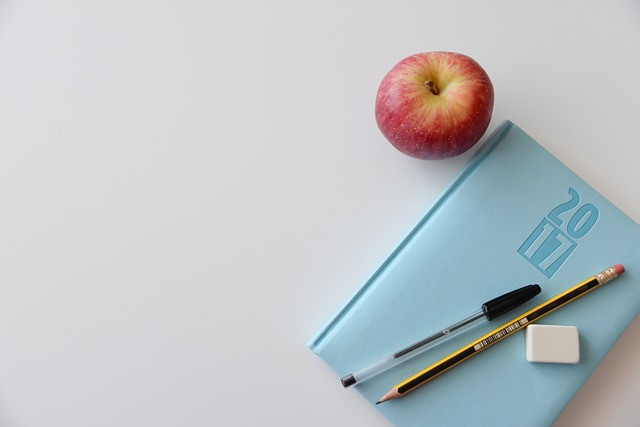 blue agenda on table with pens and apple