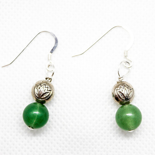 Aventurine Lotus Earrings