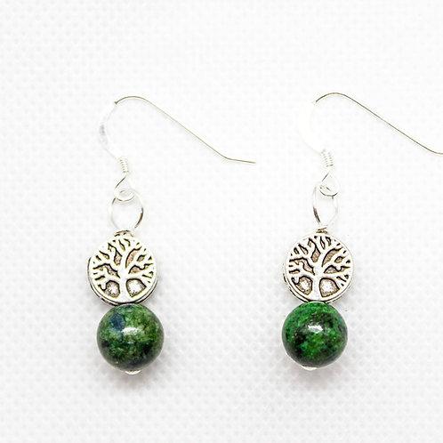 Azurite Malachite Tree Earrings