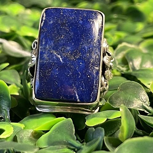 Lapis Lazuli Floral Ring