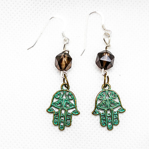 Smoky Quartz Hamsa Earrings