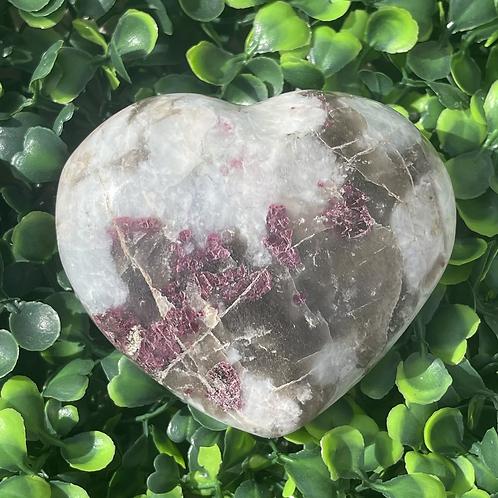 Garnet, Smoky Quartz & Calcite Heart