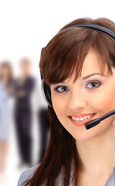 Customer service agent on phone