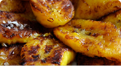 Juicy, ripe plantain sliced thick and fried to perfection