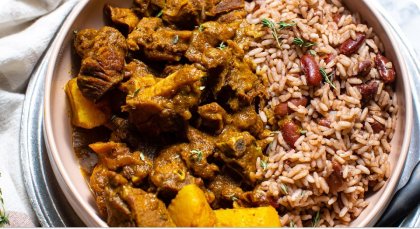 Authentic buttery curry with rice and beans