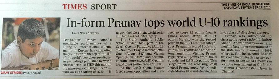 Pranav U 10 world no 1