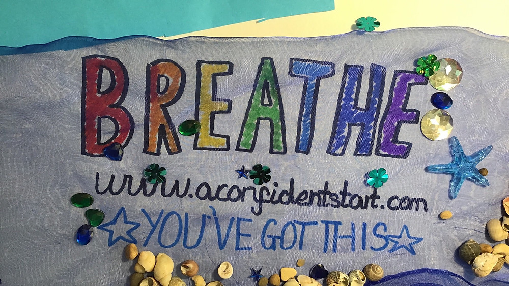 Hand drawn poster of word BREATHE and text You've Got This