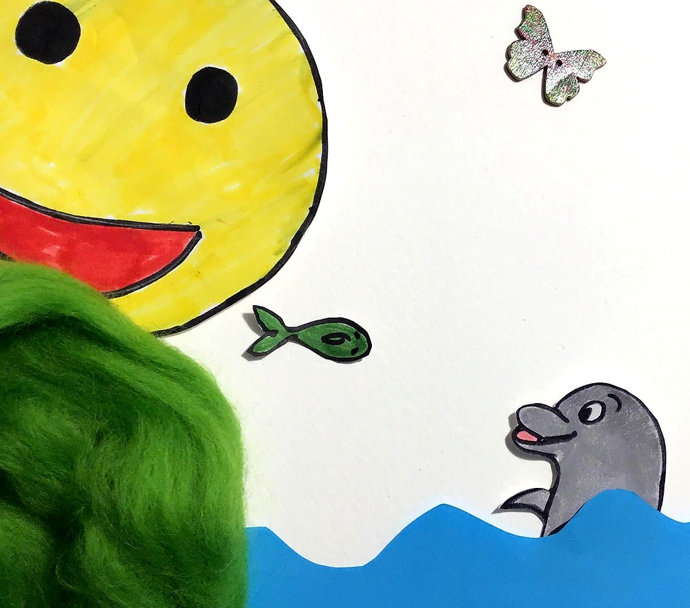 Drawing of happy emoji throwing fish to a dolphin in the water