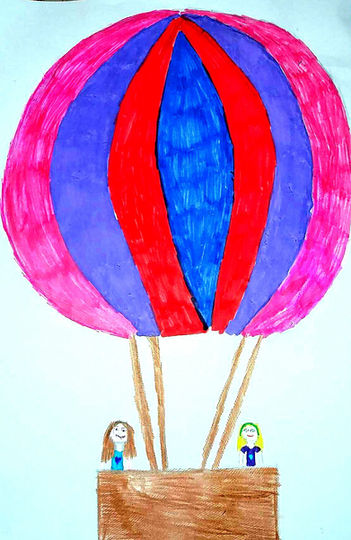 Kids flying high in hot air balloon