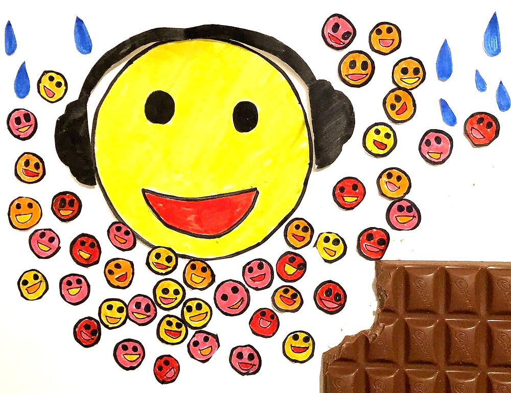 Happy Emoji listening to music, eating chocolate and taking cold shower