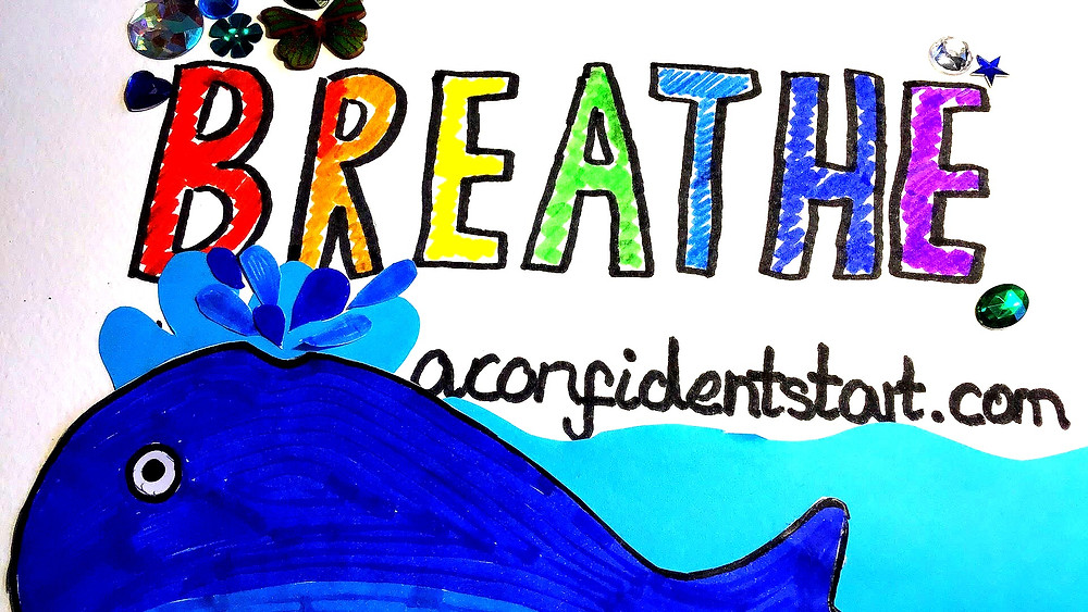 Drawing of BREATHE from A Confident Start .com and a picture of a whale