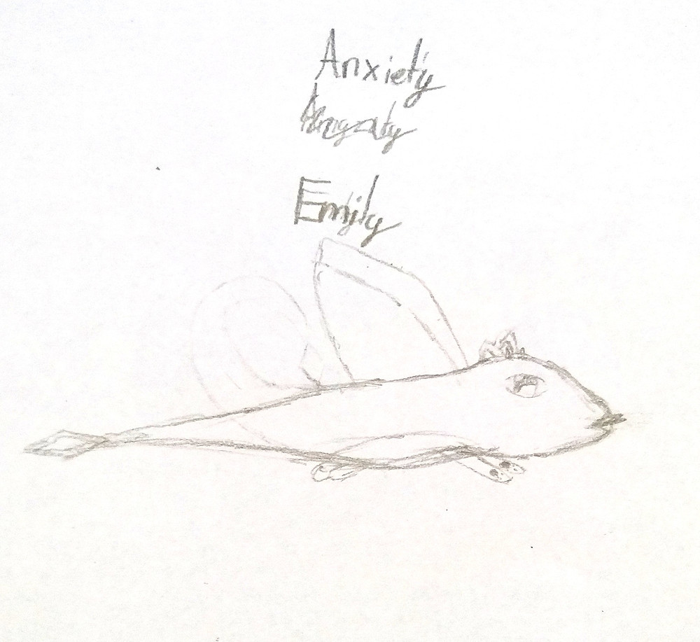 Child's drawing of a dragonfly who helps with anxiety