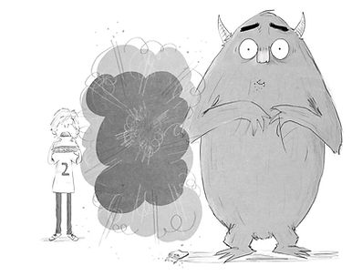 A Cartoon of Max and the Monster