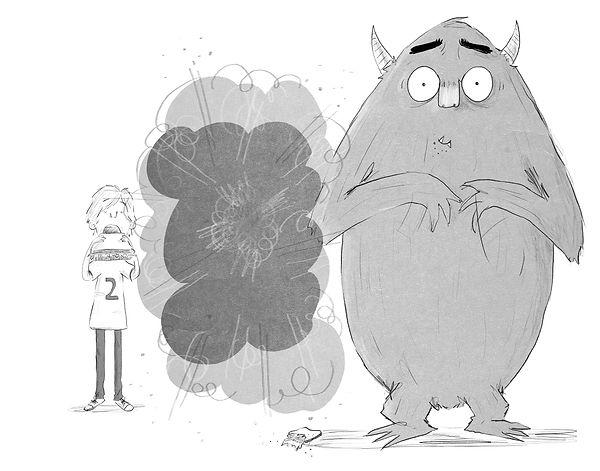 A Cartoon of a Boy and a Monster