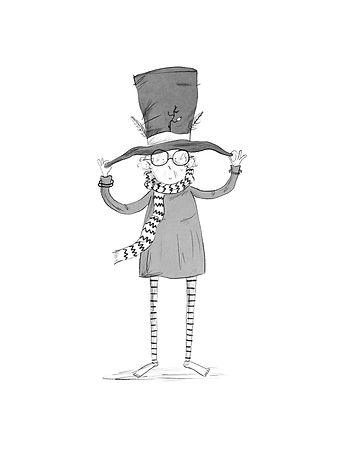 A Cartoon of a Old Woman in a Big Hat