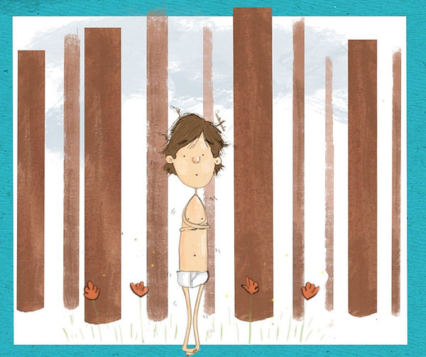 A Cartoon of a Boy Cold in the Woods