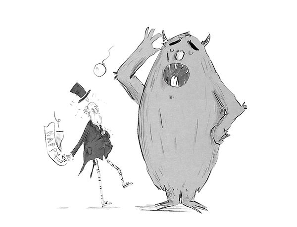 A Cartoon of a Monster and a Surprised Man