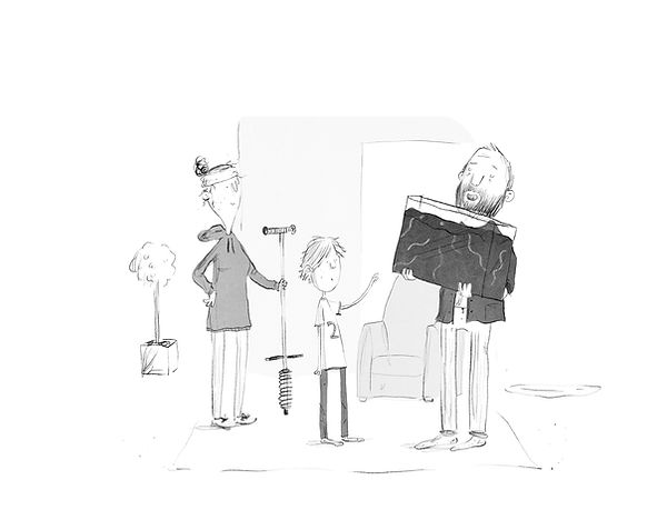 A Cartoon of 2 Parents and a Boy