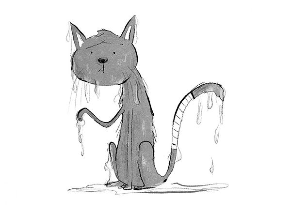 A Cartoon of a Wet Cat