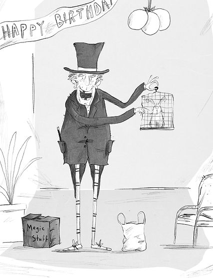 A Cartoon of Magician Holding a Bunny in a Cage