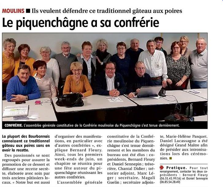 AG Constituante de la confrérie Moulinoise du Piquenchâgne