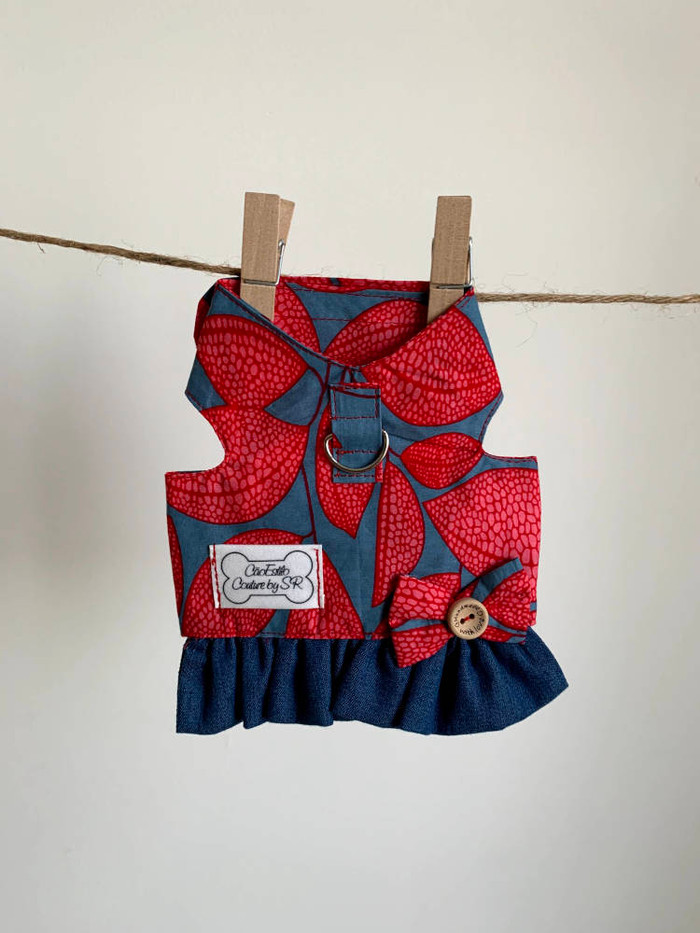 Denim & Ankara Ruffle Harness