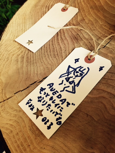 発表会では、大好きなイラストレーター、平松昭子さんにばったり。当日は七夕だったので、平松さんはこんな素敵な願いごとを書いていました!