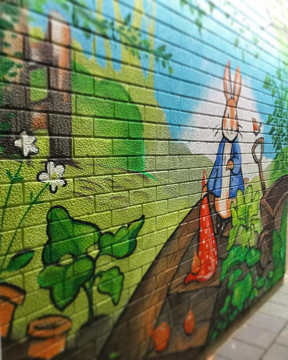 sarah boese illustration design mural work peter rabbit mural