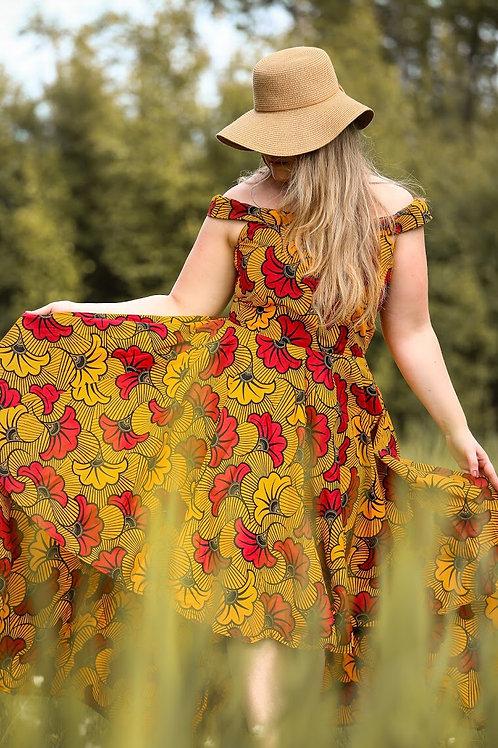 Elegant hi-lo off-shoulder dress