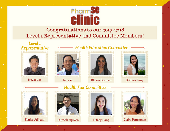 Congratulations to our 2017-2018 Level 1 Representative and Committee Members