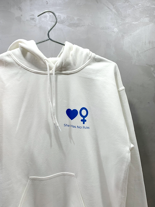 White Hoodie with Symbols in Blue