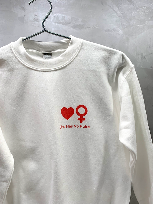 White Sweatshirt with Symbols in Red