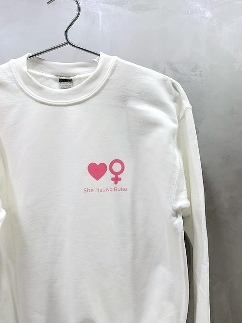 White Sweatshirt with Symbols in Pink