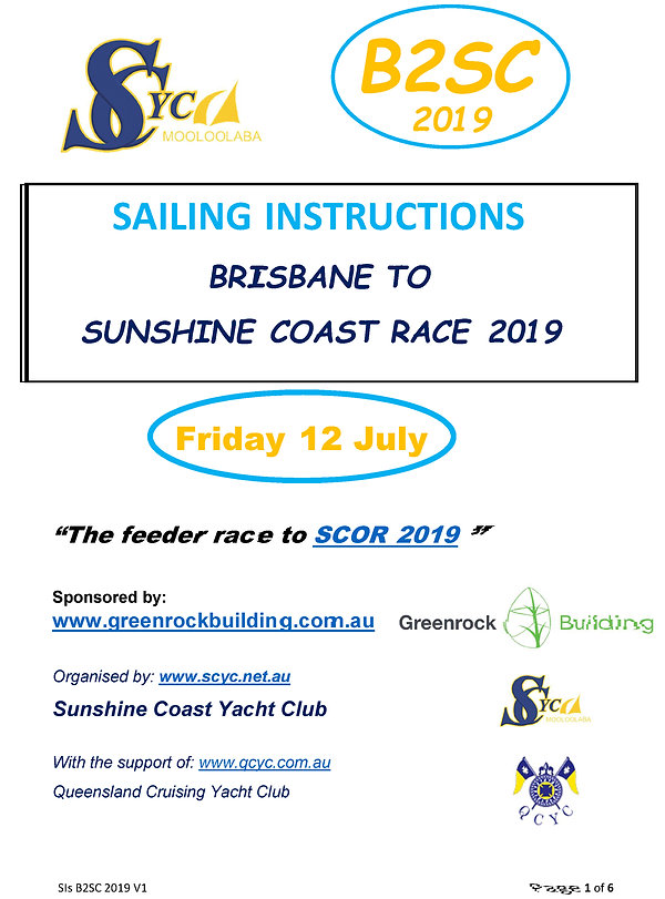 Sailing Instructions BRISBANE TO SUNSHIN