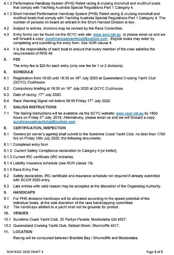 Notice of Race BRISBANE TO SUNSHINE COAS