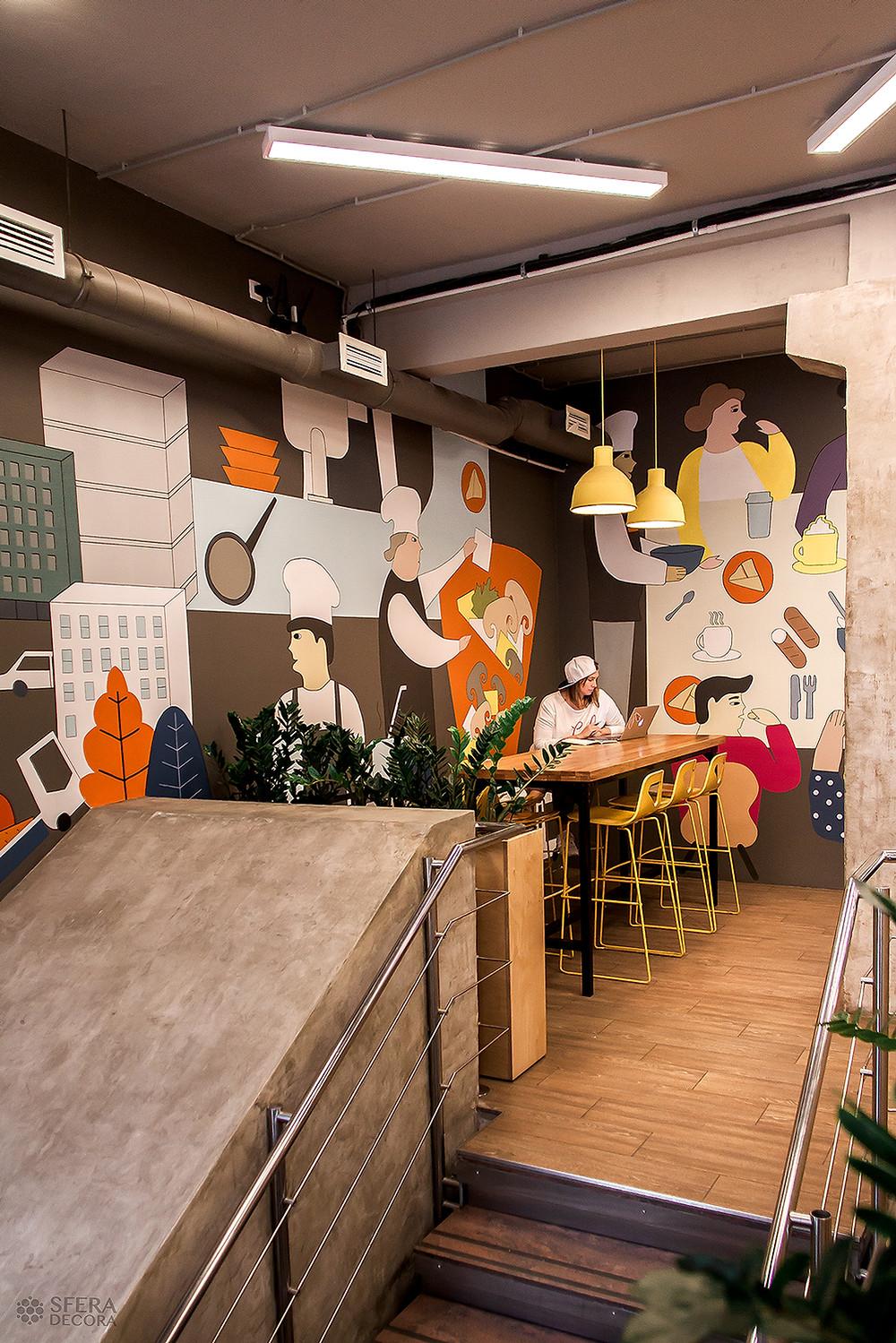 Художественная роспись стены от Sfera Decora. Чайная ложка на Лиговском, 44