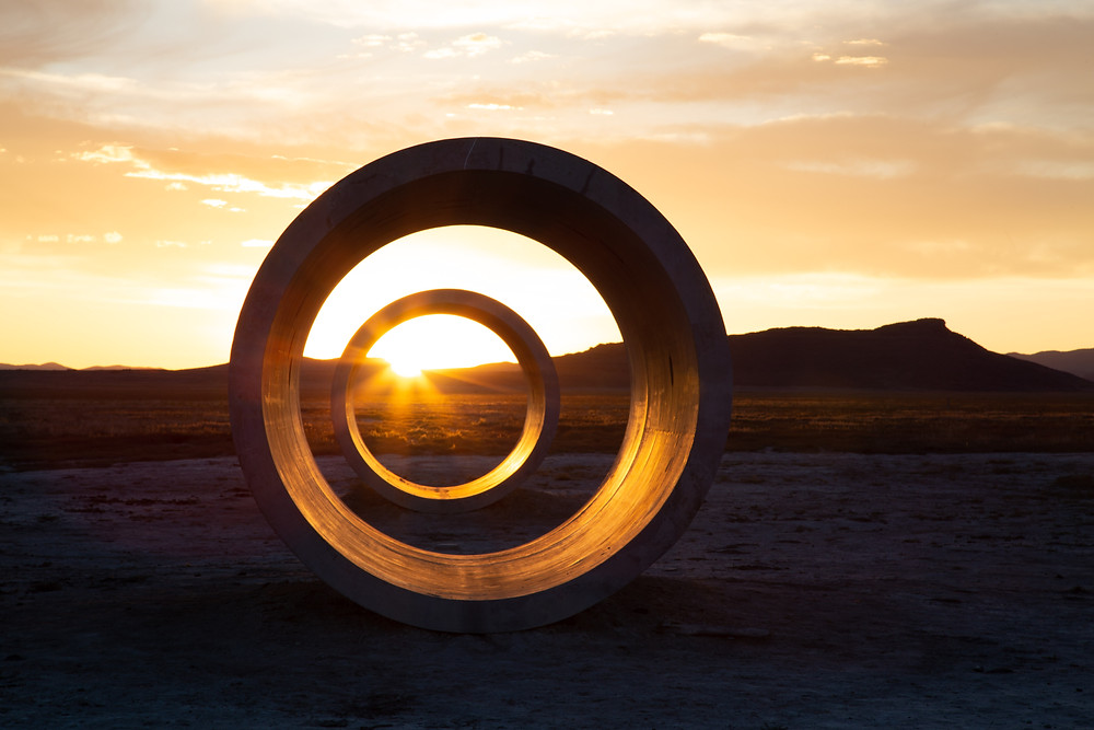 The sun lines up with tunnels perfectly at winter and summer solstice, Sun Tunnels, Great Basin Desert, Utah