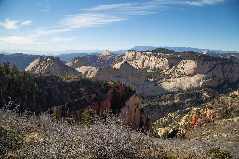 Views into many of Zion National Park's side canyons are seen from the West Rim Trail