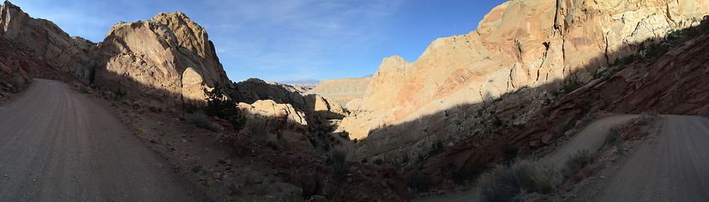 View of the Burr Trail Switchbacks in Capitol Reef National Park in Utah