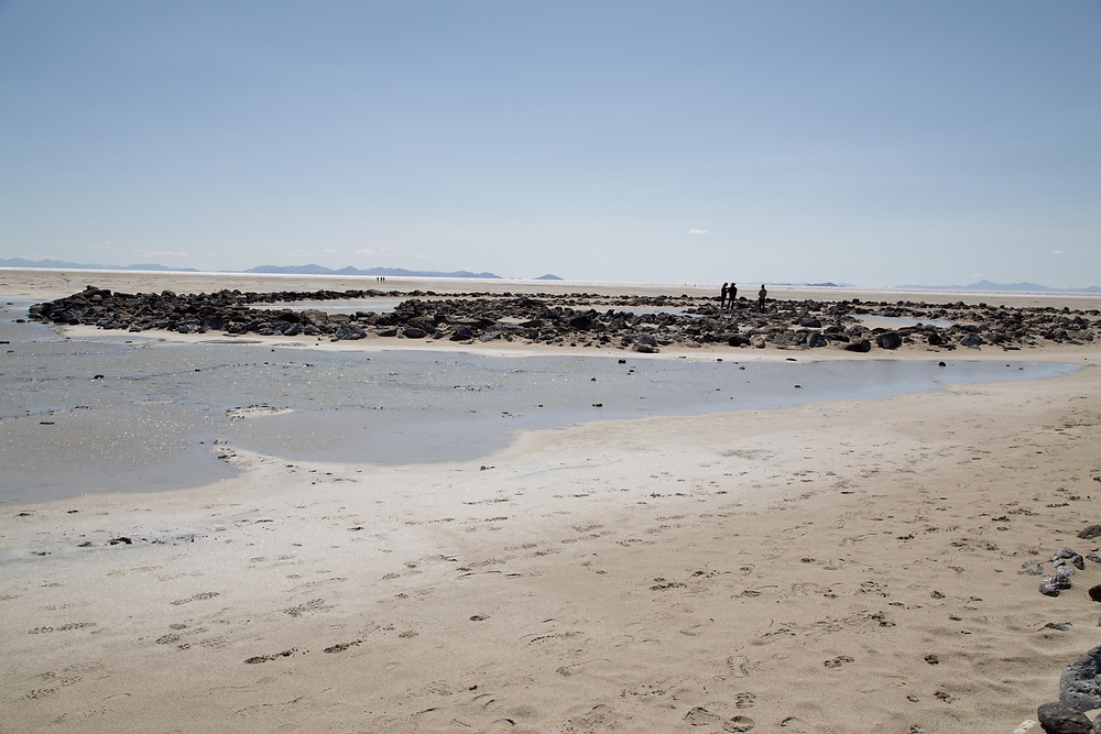 View of the Spiral Jetty from the Great Salt Lake shore in Utah