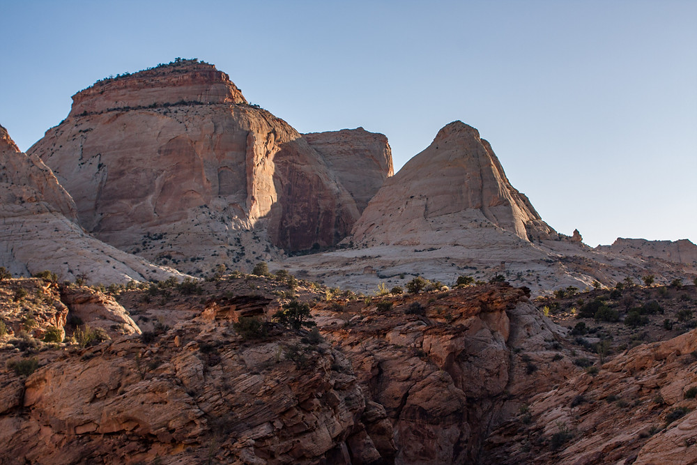 White sandstone domes look like Capitol domes giving Utah's Capitol Reef National Park its name