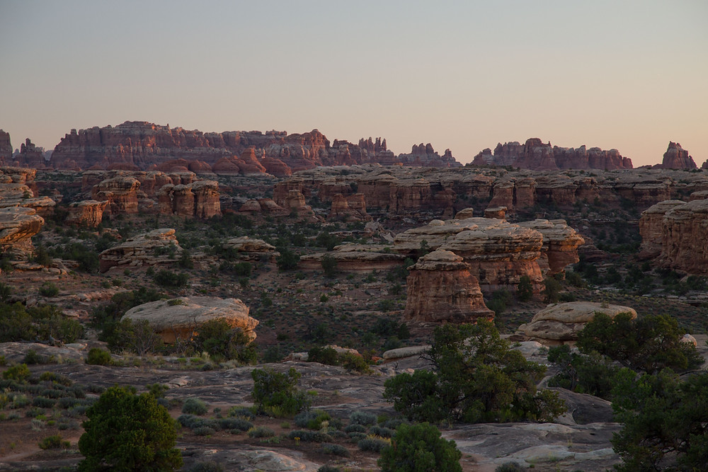 Sunset just off the road in the Needles District of Canyonlands, Utah
