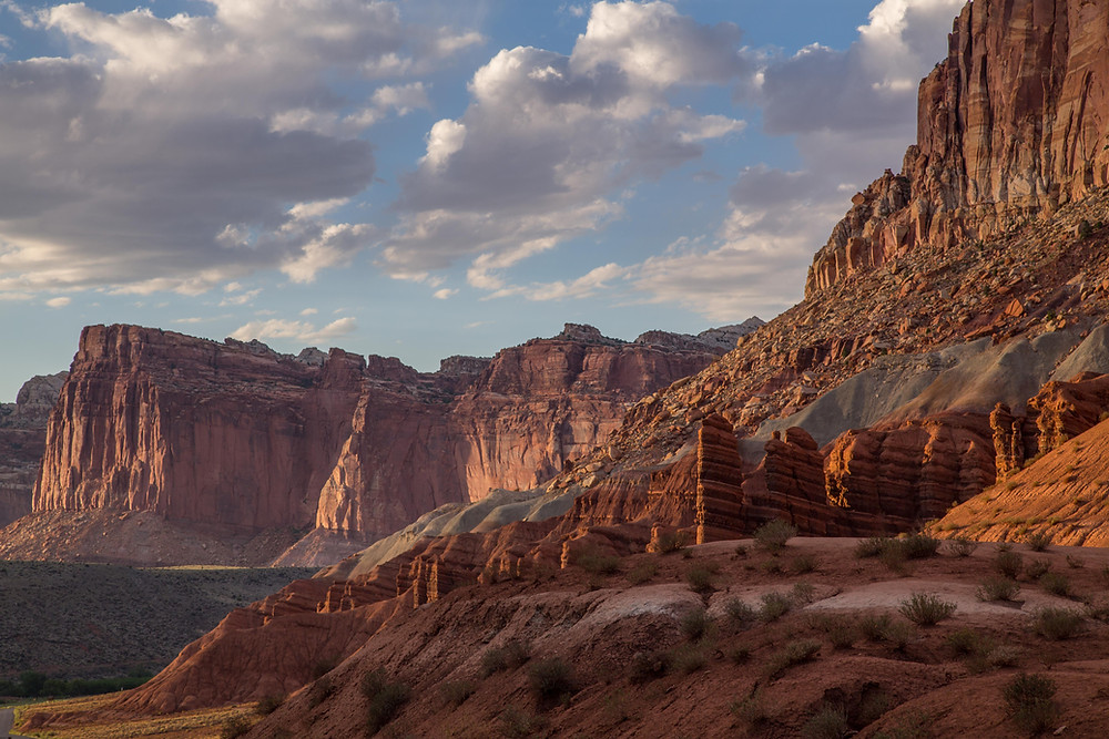 View from the scenic drive along the west end of Capitol Reef National Park in Utah